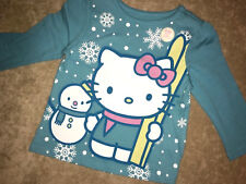 New HELLO KITTY  kid's girl's T-shirt Tee Old Navy Christmas  blue L/S 6 12 M