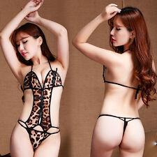 Women Slim Leopard Lingerie Bodysuit Gallus Panties Crotchless Underwear Top