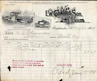 1904 E W CONKLIN & SON*SEED MERCHANTS*BINGHAMTON NEW YORK*BILLHEAD*NICE GRAPHICS