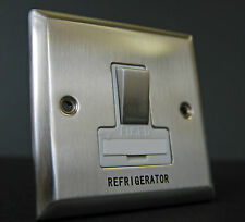 13 AMP SWITCHED FUSE SPUR REFRIDGERATOR MAINS BRUSHED CHROME WITH WHITE INSERT