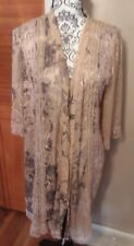 Eloise Anthropologie Sheer Mesh Lace Beige Kimono Robe Black Floral Print Sz M/L