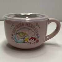 "Disney THE LITTLE MERMAID ARIEL & FLOUNDER ""Aspiring Mermaid""  Soup Mug Cup NEW"