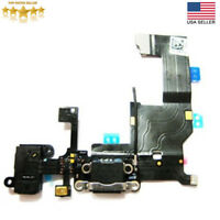 iPhone 5 5G Black Replacement Headphone Audio Charger Charging USB Flex Cable