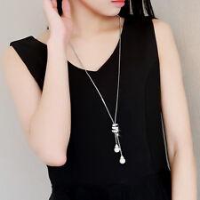 Simple Women Fashion Jewelry Pearl Pendant Necklace Long Tassel Sweater Chain pb