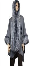Gray Poncho Faux Fur Trim Hooded cape Heavy 28 inches Long