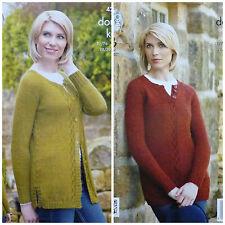 Knitting pattern ragazze manica lunga scollo tondo maglione lungo & Cardigan DK KC 4267
