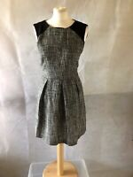 suzy shier, size s/p, grey/white/black A-line pleated short/min dress, pre-owned