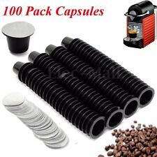 100 Pack Reusable Coffee Capsule Cup With Aluminum Foil For NESPRESSO Machine