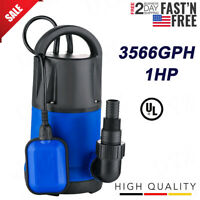 1HP Electric Submersible Water Pump Sump with Float Switch Portable Clean/Dirty
