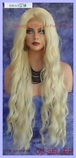 LACE FRONT WIG LONG ROLLING ALLURING SULTRY WAVES LIGHT BLOND 613 USA SELLER 313