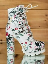 Liliana White Floral Lace Up Chunky Heel Lug Sole Platform Ankle Boots Size 10