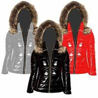 Ladies Wet Look Shiny Puffer Padded Fur Hooded Winter Jacket(FF)