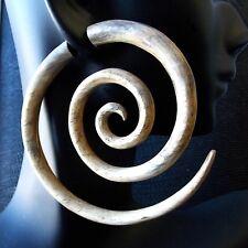 "2.5"" Long Spiral Tribal Fake Gauge Earrings Organic Tamarind Wood Tattoo Jewelry"