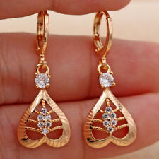 18K Gold Filled - Hollow Heart Multilayer Laser Carving Topaz Drop Earrings DS
