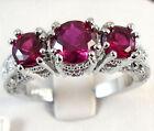 Women 925 Sterling Silver Ruby Gemstone Ring Wedding Engagement Fashion Jewelry