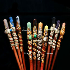 Mix Gemstone Crystal point Clay polymer Hair Stick Gift for Her Hair Accessories
