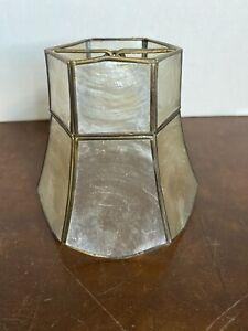 "Vintage Light Lamp Shade CAPIZ SHELL Brass Accents 4"" Bell Shape"
