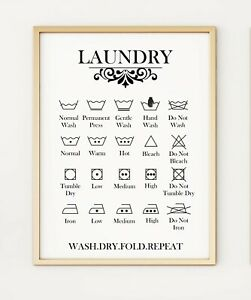 Laundry Care Guide Washing Symbols Instructions Utility A4 Poster Print PO356