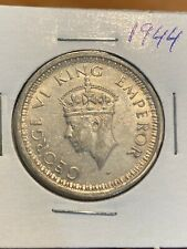 British India One Rupee 1944 Silver Coin, King George 6. Very Lustrous!