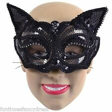 Halloween schwarz Pailletten Katze Maske maskiert Ball Maskenspiel Kostüm em710