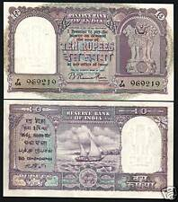 INDIA 10 RUPEES P38 1949 BOAT *RAMA RAU* SIGN UNC RARE CURRENCY BILL BANK NOTE