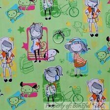 BonEful Fabric FQ Cotton Green Aqua Pink Star Girl Pet School Bike Dress Dog Cat