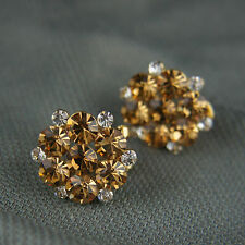 18k Gold GF with Swarovski elements brilliant crystals shiny earrings