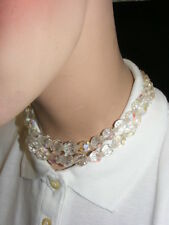 Vintage Iridized Glass Facet Cut Beaded Choker Necklace Clear Rhinestones
