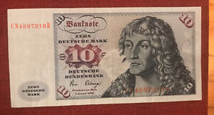1980 Germany 10 Mark Bank Note P-31d PRINTING ERROR EXTREMELY RARE