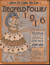 When the Lights Are Low Ziegfeld Follies of 1916 Large Format Sheet Music