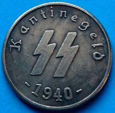 1940 German Third Reich Deutsche 1 Schilling Kantinegeld Kampft Weiter WWII Coin