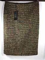 NEW With Tags Talbots Brown Multi Colored Tweed Pencil Skirt, Size 2