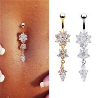 Women's Dangle Crystal Flower Navel Belly Button Ring Bar Body Piercing Jewelry