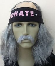 THE OLD RUNNER. GREY BALD TOP FANCY DRESS WIG+HEADBAND+SELF ADH DROOP MOUSTACHE