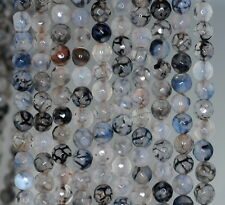 """6MM FIREWORKS CRACKLE AGATE GEMSTONE MILKY BLACK FACETED ROUND LOOSE BEADS 14.5"""""""
