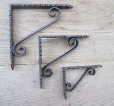 "PAIR Antique Cast Iron Scroll shelf Wall Bracket Support books storage LARGE 6"""