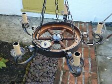 Vintage Searchlight 5 Arm Wrought Iron & Wood Chandelier Medieval Gothic Style