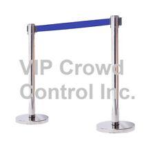 """Vip Crowd CoRetractable Stanchion, 2Pcs Set, 40"""" Satin S.S. With 78"""" Blue Belt"""