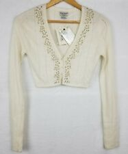 GUESS JEANS Women's Cardigan Small S Cream Soft Cropped Bolero $69 *NWT*