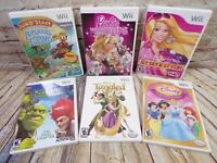 LOT of 6 Nintendo Wii Disney, Barbie, Shrek, Jump Start - Game Lot