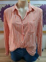 Khoko Size 10 Red Stripe Shirt Viscose Long Sleeve
