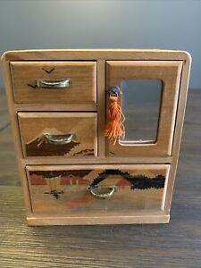 DOLL HOUSE FURNITURE VINTAGE Wooden DRESSER Handmade Parquetry Inlay Japan