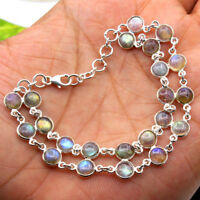 Natural Labradorite Round Gemstone Bracelet 925 Sterling Silver Jewelry 7""