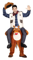 COWBOY RIDING ON HORSE SHOULDERS MENS THEATER PLAY COSTUME ONE SIZE to 6'  200#s