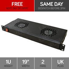 "Linxcom 1U 19"" Rack Mount 2 Way Fan Tray Unit UK Plug - Black Data Cabinet"