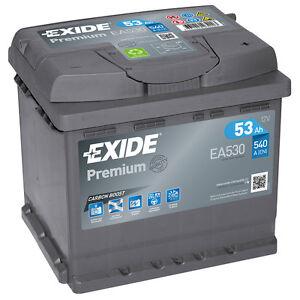 Autobatterie 53AH 12V 540A/EN Exide EA530 statt 44Ah 45Ah 50Ah 51Ah 52Ah 55Ah