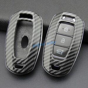 ABS Carbon Fiber Car Smart Key Cases Covers Holder For Hyundai Santa Fe i30 Kona