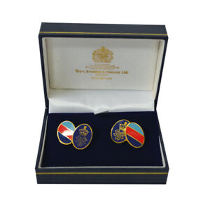 Mens Chain Cufflinks Gold Enamel Red Blue Stripe Oval Shape for SSAFA Jewellery