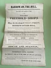 More details for harrow on the hill 1909 sale of freehold shops west street ref r25674