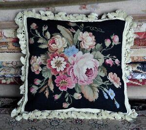 Needlepoint Pillow Floral Roses Black Cushion Cover Pillowcase 16x16 Handmade